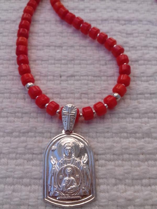 Ожерелье из натурального коралла кораллового цвета и серебряная подвеска Красный коралл серебро Колода Людмила - фото 1