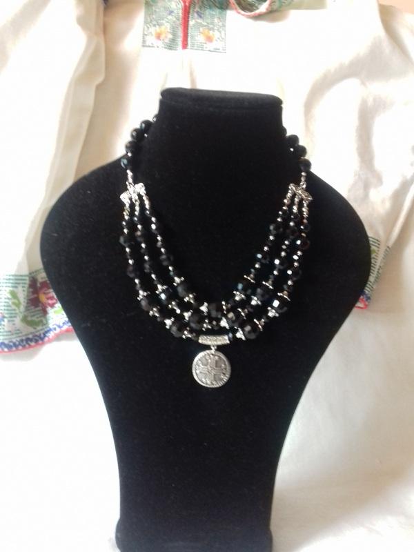 Ожерелье из черного агата с кулоном Черный черный агат Колода Людмила - фото 4