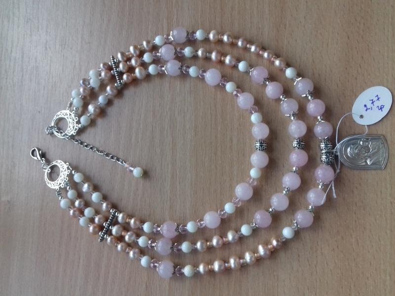 Ожерелье и браслет из розового кварца и жемчуга и серебряная подвеска Розовый розовый кварц жемчужины с Колода Людмила - фото 3