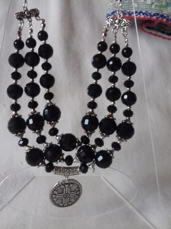 Ожерелье из черного агата с кулоном Черный черный агат Колода Людмила - фото 2