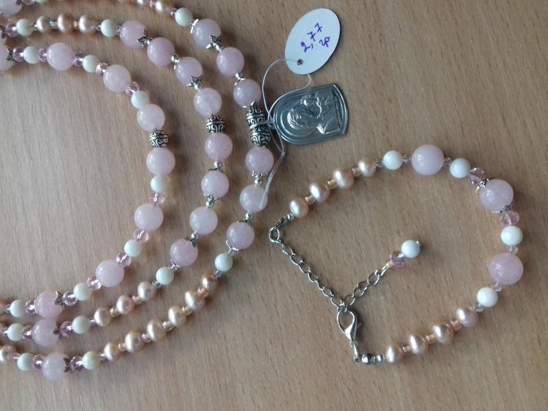 Ожерелье и браслет из розового кварца и жемчуга и серебряная подвеска Розовый розовый кварц жемчужины с Колода Людмила - фото 4