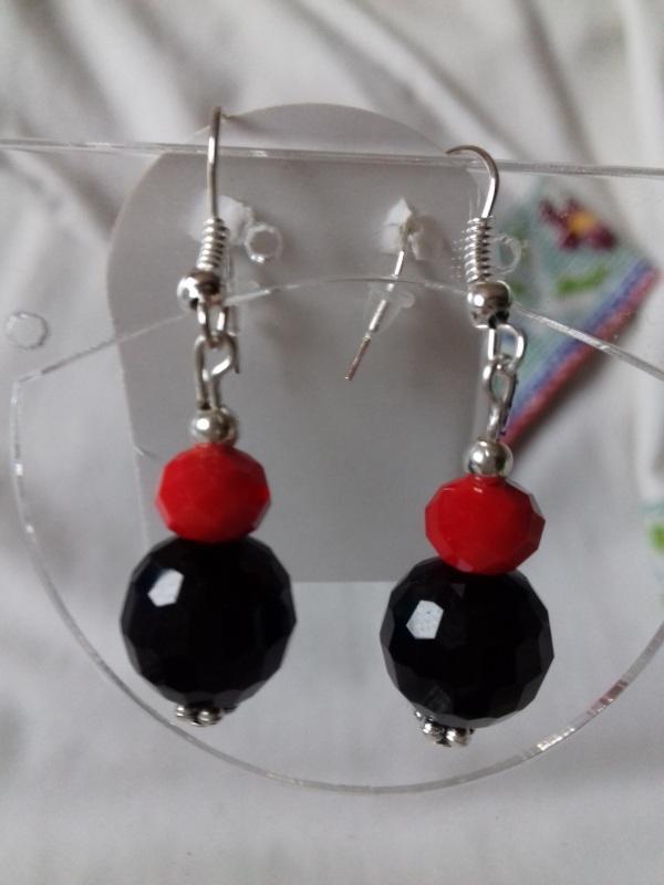 Комплект ожерелье и серьги красно черные с подвеской Разноцветный агат Колода Людмила - фото 2