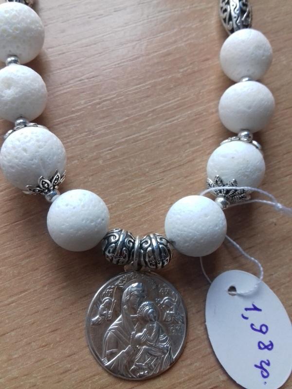 Ожерелье из белого коралла с серебряной подвеской Белый коралл белый круглый сере Колода Людмила - фото 2