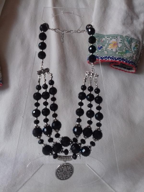 Ожерелье из черного агата с кулоном Черный черный агат Колода Людмила - фото 3