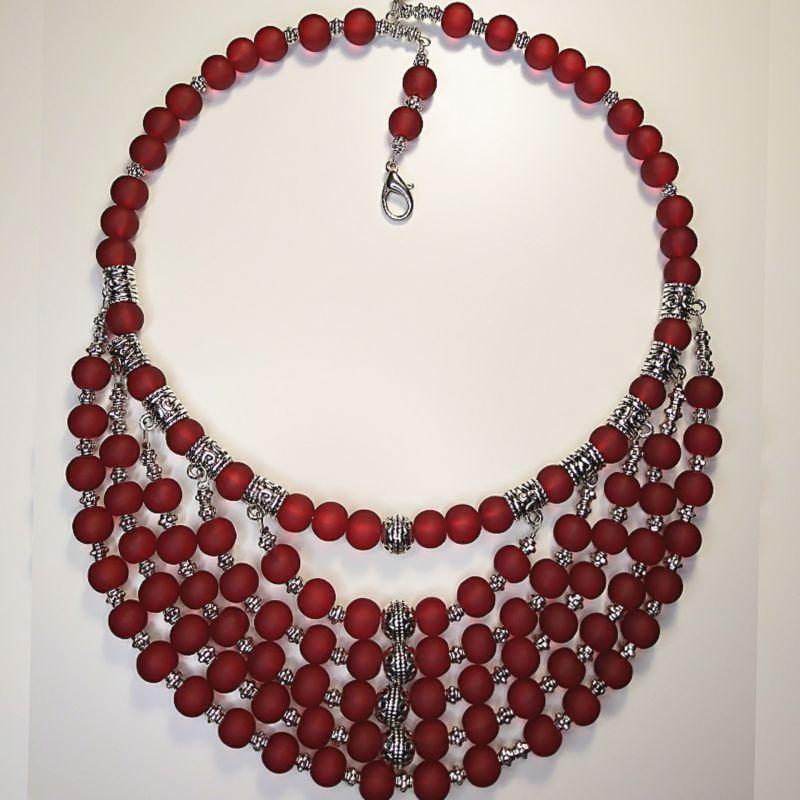 Ожерелье красное Красный стеклянные бусины, фурнит Коломиец Руслана - фото 1