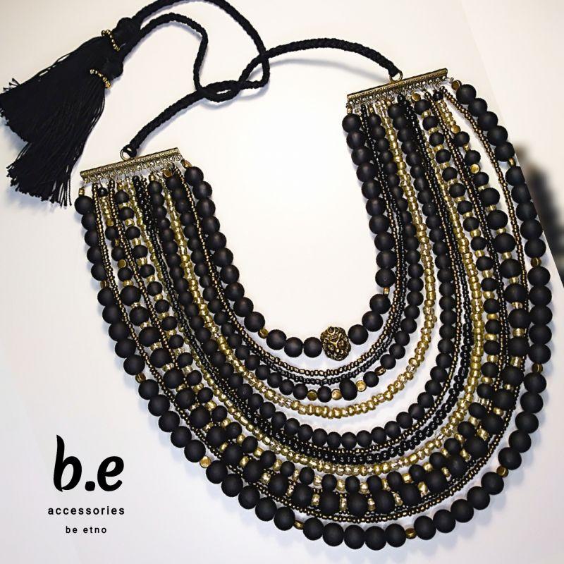 Ожерелье 15ть низок Черный стеклянные бусины, бисер, Коломиец Руслана - фото 1