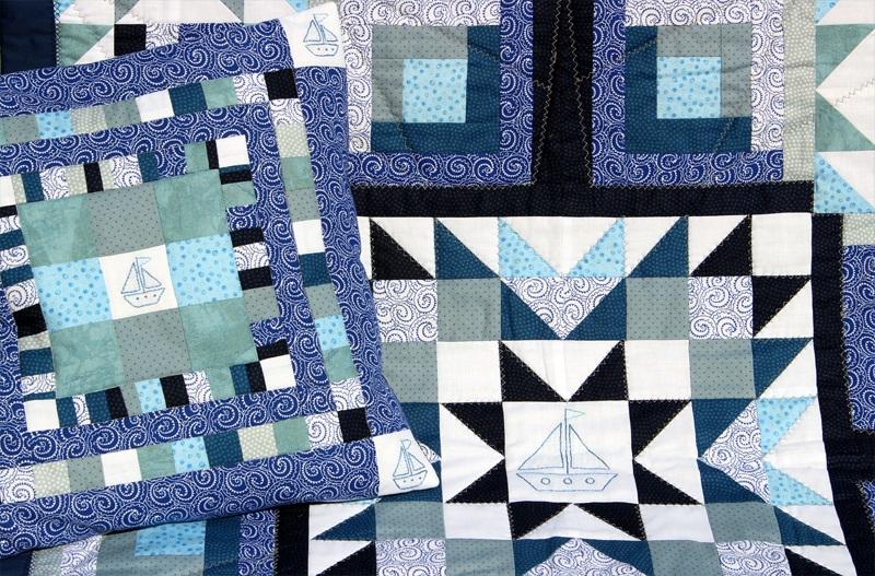 """Набор """"Роза ветров"""" одеяло и подушка  Хлопковая ткань, мулине, Королева Дарья - фото 5"""