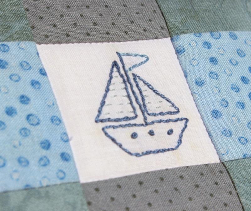 """Набор """"Роза ветров"""" одеяло и подушка  Хлопковая ткань, мулине, Королева Дарья - фото 4"""