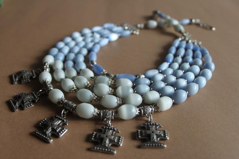 """Ожерелье многорядное """"Небеса ..."""" Голубой кошачий глаз голубого и б Шкварок Наталья - фото 2"""