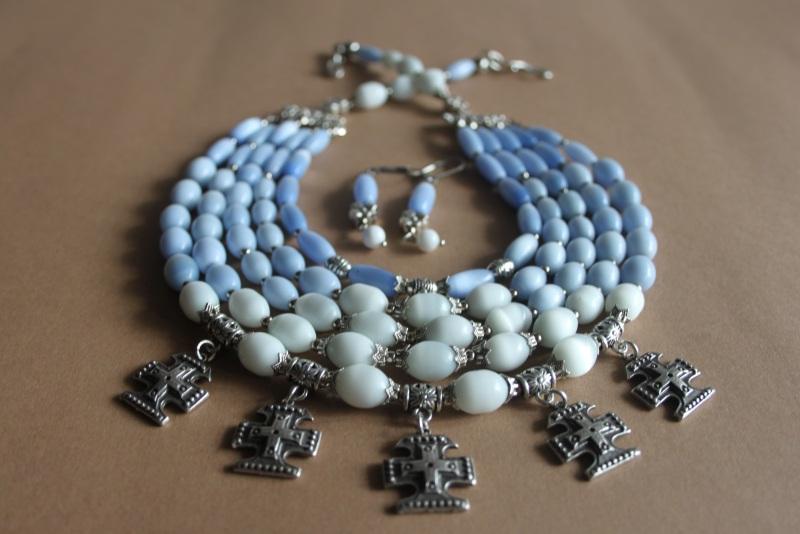 """Ожерелье многорядное """"Небеса ..."""" Голубой кошачий глаз голубого и б Шкварок Наталья - фото 1"""