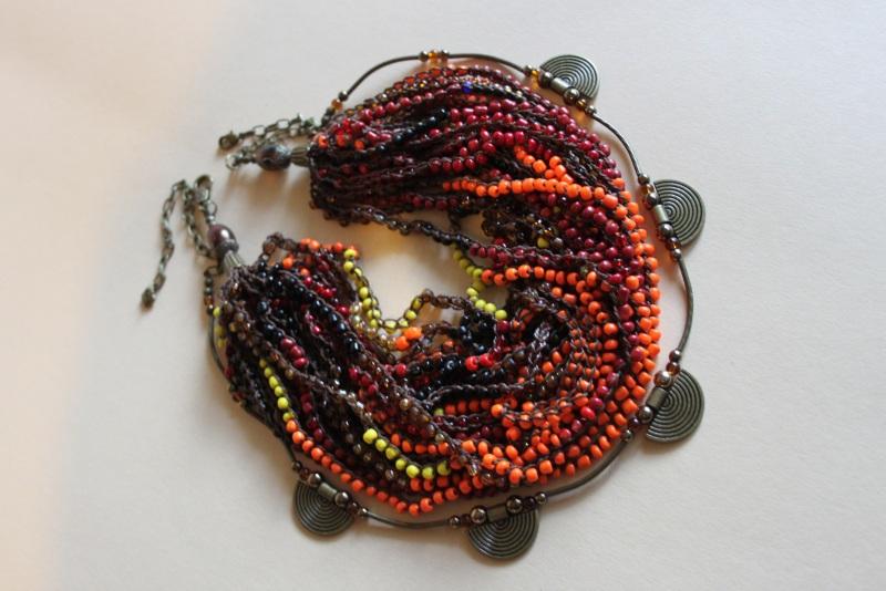 Комплект из двух ожерелий 2в1 Разноцветный бисер крупный, стекло, ге Шкварок Наталья - фото 1