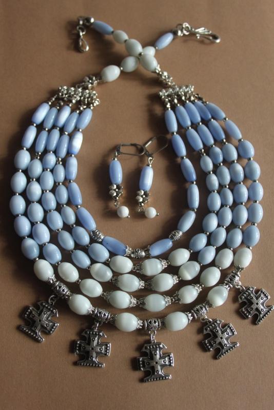 """Ожерелье многорядное """"Небеса ..."""" Голубой кошачий глаз голубого и б Шкварок Наталья - фото 5"""
