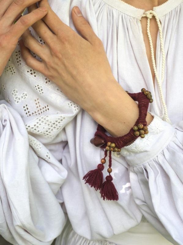 Браслет Ожинова яшма Червоний Яшма, дерев`яна бусіна-за Косяк Катерина - фото 2