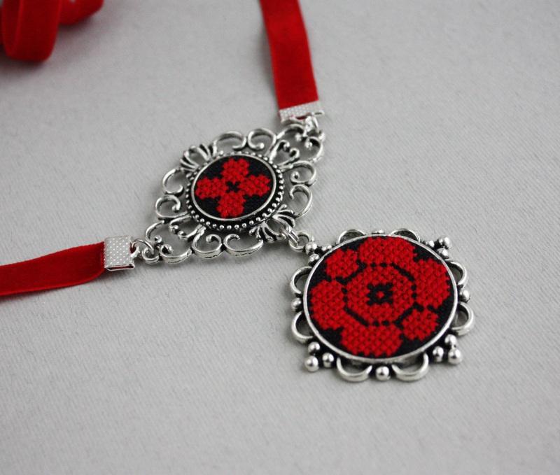 Колье чокер с кулоном Красное и черное Красный Фурнитура под серебро, ба Коцкулич Татьяна - фото 6