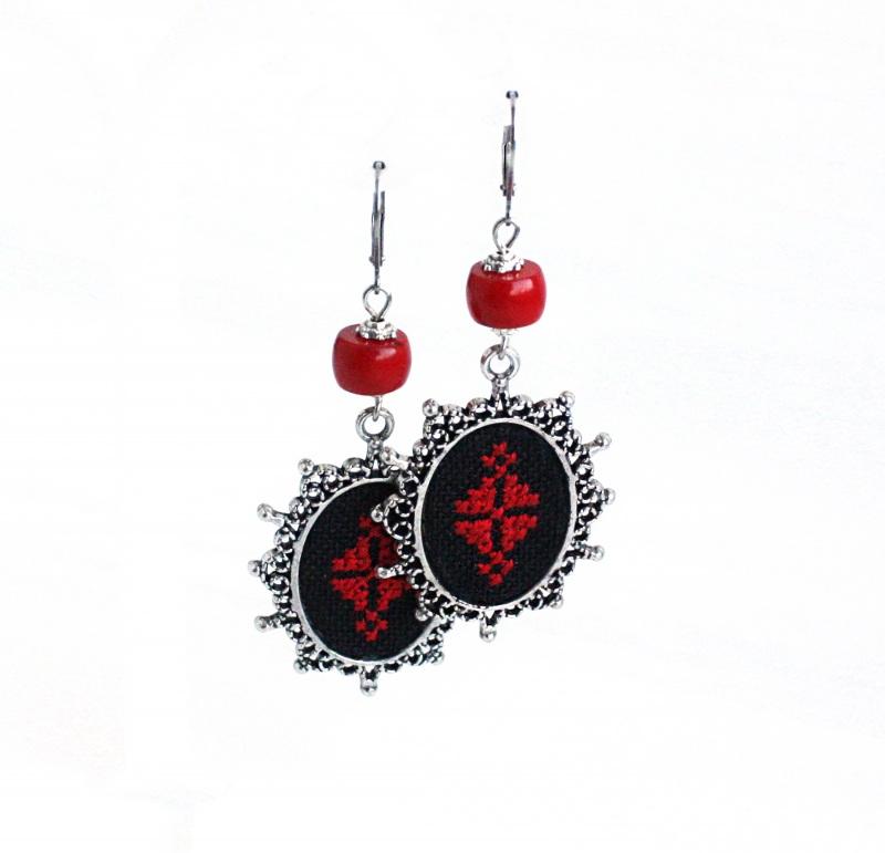 Колье чокер с кулоном Красное и черное Красный Фурнитура под серебро, ба Коцкулич Татьяна - фото 4