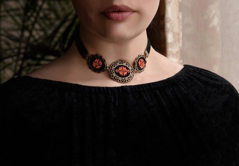 Запонки круглі унісекс чорний оранжевий Чорний основа під бронзу, бавовн Коцкулич Тетяна - фото 2