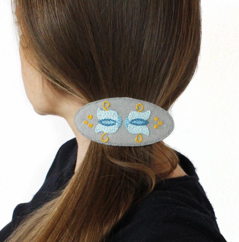 Заколка автомат для густых волос Скандинавия Серый основа для заколки, фетр, Коцкулич Татьяна - фото 2
