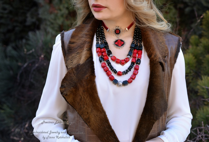 Колье чокер с кулоном Красное и черное Красный Фурнитура под серебро, ба Коцкулич Татьяна - фото 3