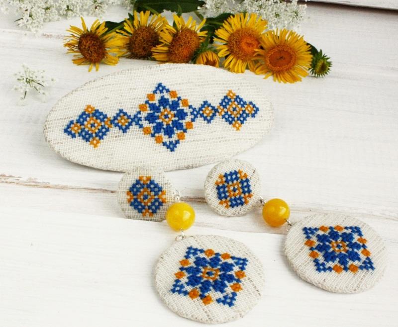 Длинные серьги-гвоздики сине-желтые к вышиванке Разноцветный посеребренные швензы, лен Коцкулич Татьяна - фото 4