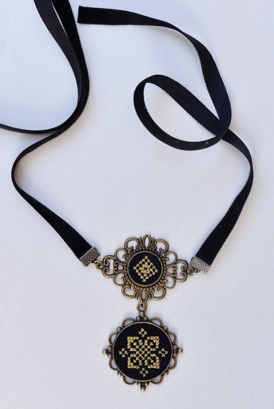 Черный чокер бархатка Черный нити шелк, ткань хлопок, Коцкулич Татьяна - фото 4
