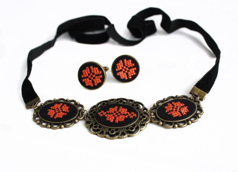 Запонки круглі унісекс чорний оранжевий Чорний основа під бронзу, бавовн Коцкулич Тетяна - фото 4