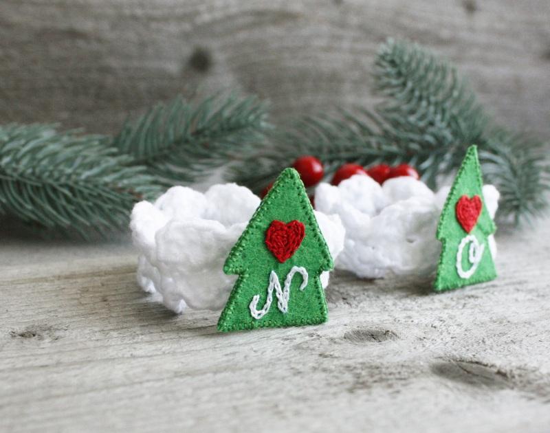 Новогодние кольца для салфеток персонализированные  Ручная вышивка, фетр, пря Коцкулич Татьяна - фото 3