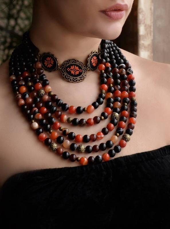 Запонки круглі унісекс чорний оранжевий Чорний основа під бронзу, бавовн Коцкулич Тетяна - фото 10