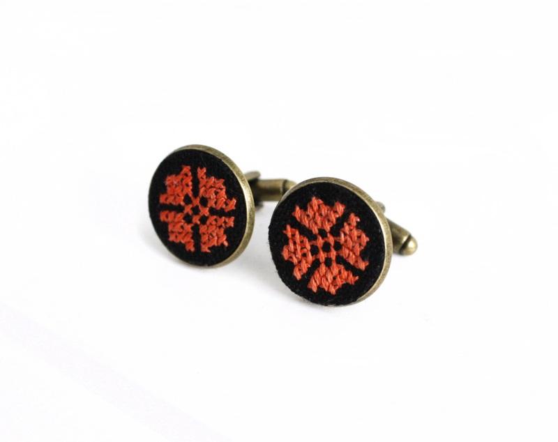 Запонки круглі унісекс чорний оранжевий Чорний основа під бронзу, бавовн Коцкулич Тетяна - фото 1