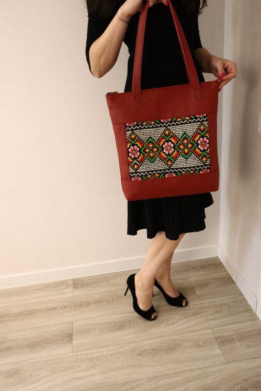 Сумка из натуральной итальянской кожи и ручной вышивки Красный Натуральная итальянская к Alonett - фото 6