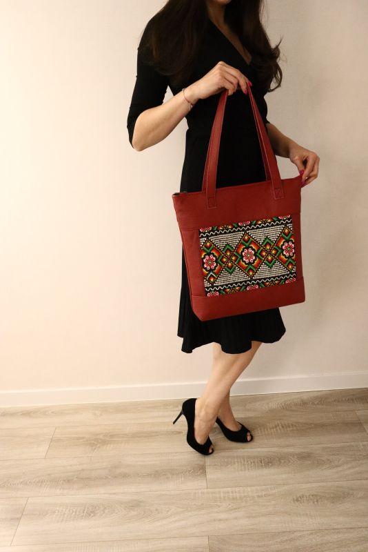 Сумка из натуральной итальянской кожи и ручной вышивки Красный Натуральная итальянская к Alonett - фото 7