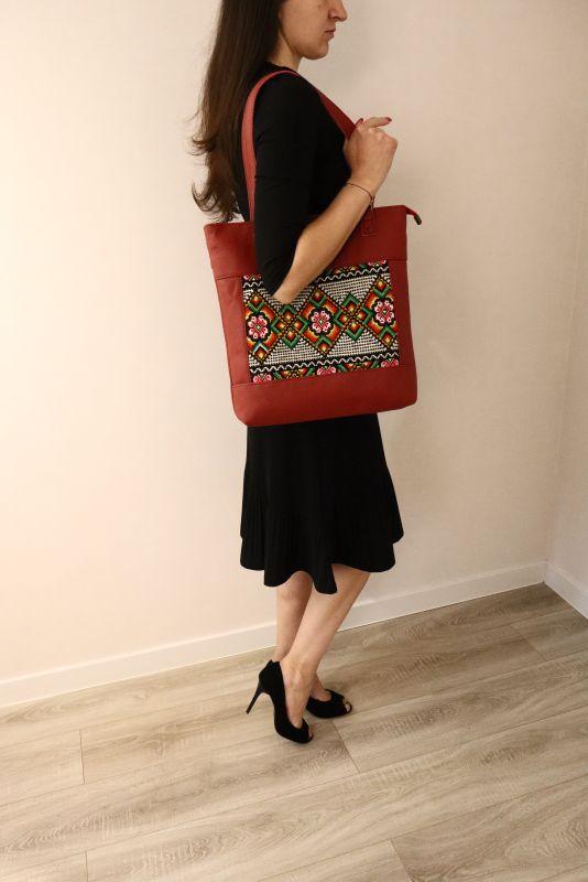 Сумка из натуральной итальянской кожи и ручной вышивки Красный Натуральная итальянская к Alonett - фото 9