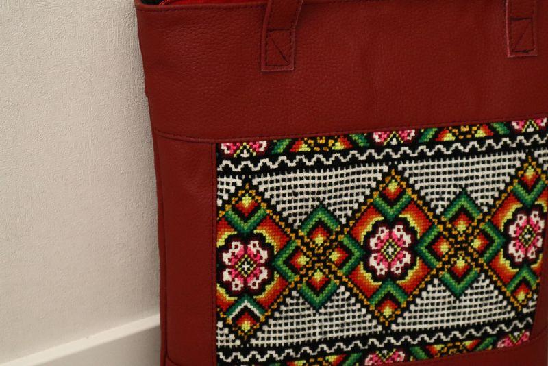 Сумка из натуральной итальянской кожи и ручной вышивки Красный Натуральная итальянская к Alonett - фото 5
