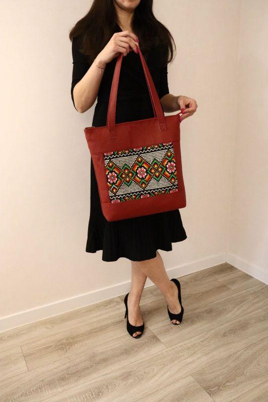 Сумка из натуральной итальянской кожи и ручной вышивки Красный Натуральная итальянская к Alonett - фото 1