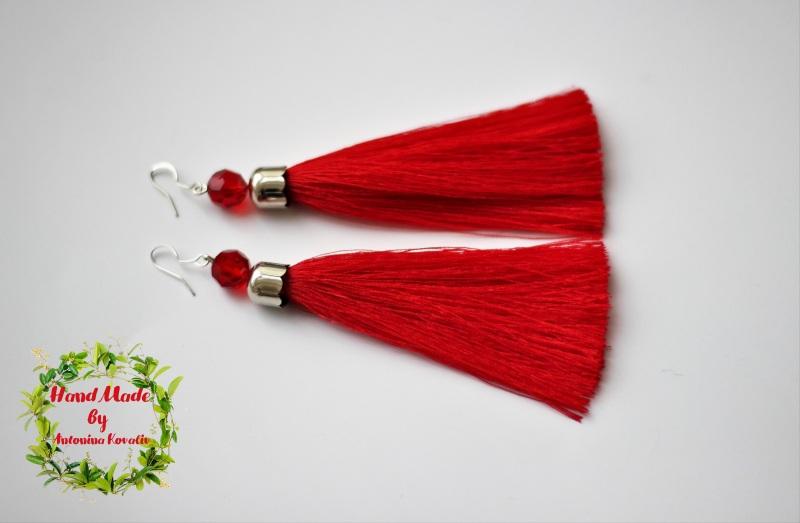 Сотуар и серьги-кисти Красный Бусины, кисть из шелка, ф Ковалив Антонина - фото 3