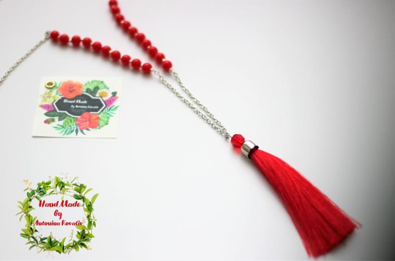 Сотуар и серьги-кисти Красный Бусины, кисть из шелка, ф Ковалив Антонина - фото 2