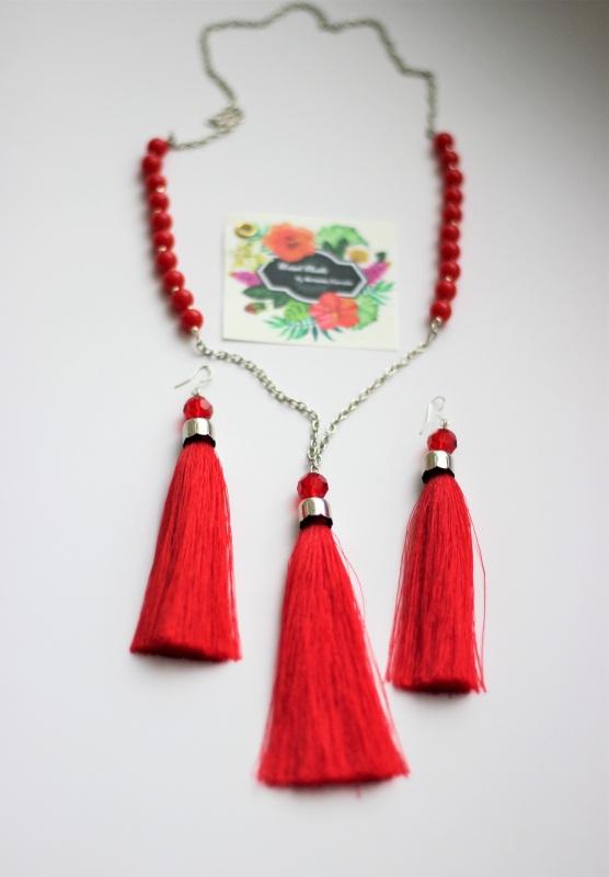 Сотуар и серьги-кисти Красный Бусины, кисть из шелка, ф Ковалив Антонина - фото 4