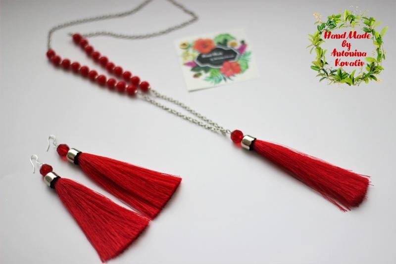 Сотуар и серьги-кисти Красный Бусины, кисть из шелка, ф Ковалив Антонина - фото 1
