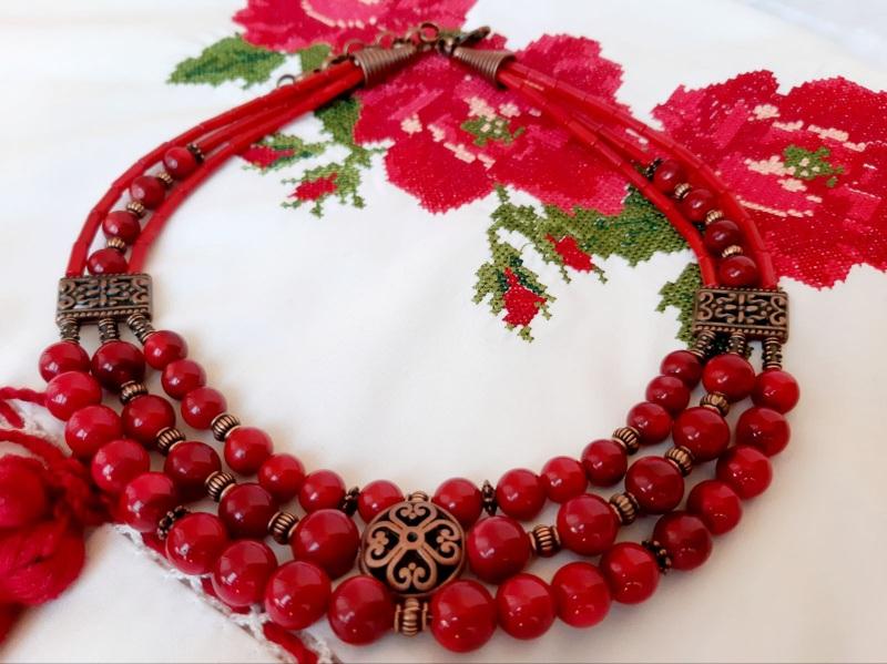 Намисто-чокер Красный Насиченого червоний корал Кротько Марина - фото 1