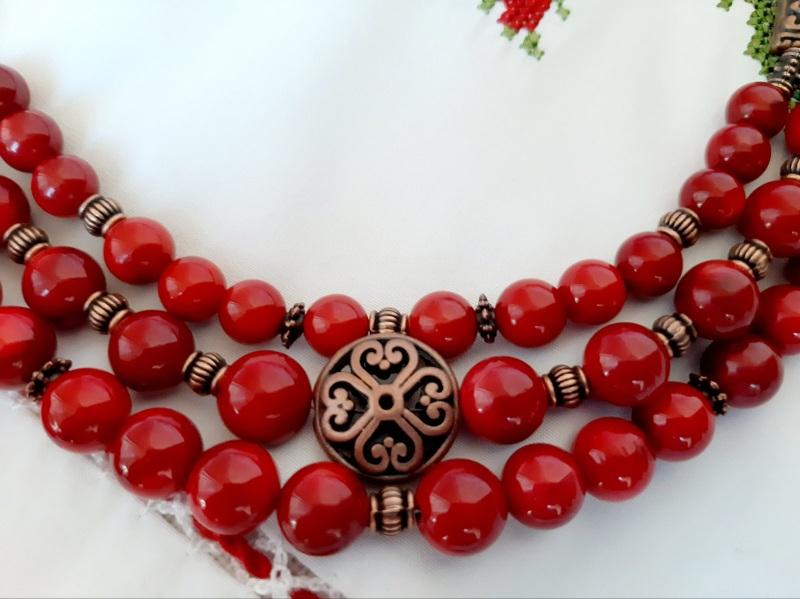 Намисто-чокер Красный Насиченого червоний корал Кротько Марина - фото 3