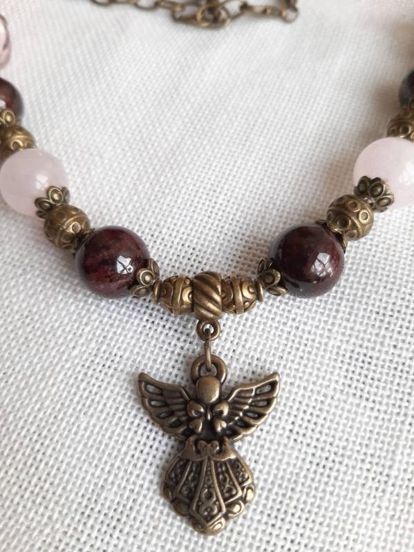 """Ожерелье """"Дар ангела"""" Розовый Бордовый гранат в сочетан Кротько Марина - фото 2"""