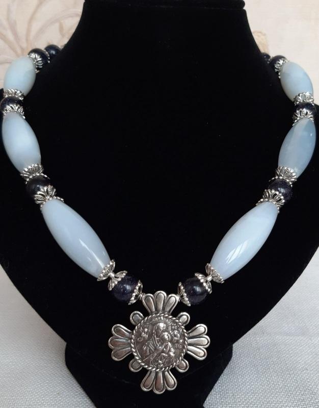 "Ожерелье ""Океан"" Голубой Голубой сапфирин, синий а Кротько Марина - фото 1"