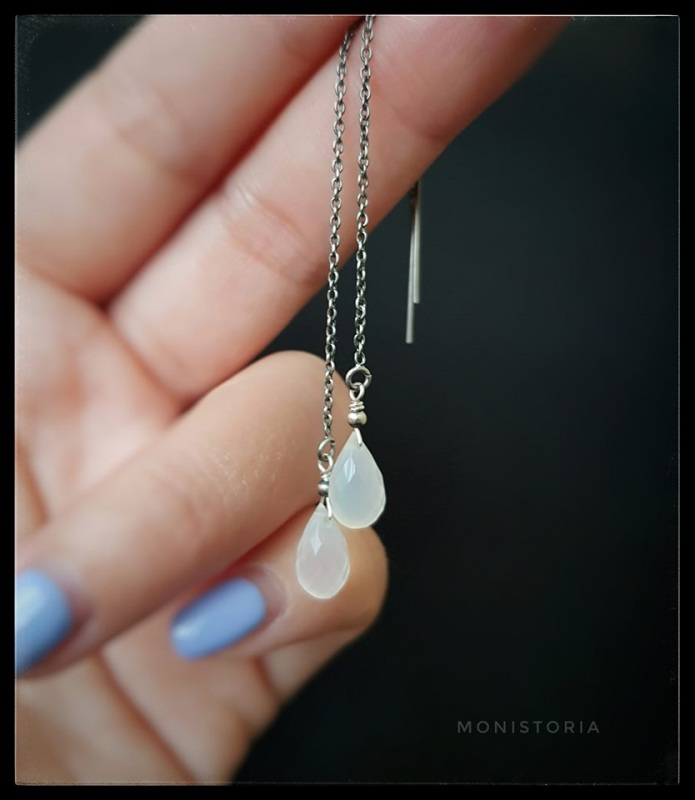 Серебряные серьги с халцедоном  Серебро, халцедон. Куличенко Ирина - фото 3