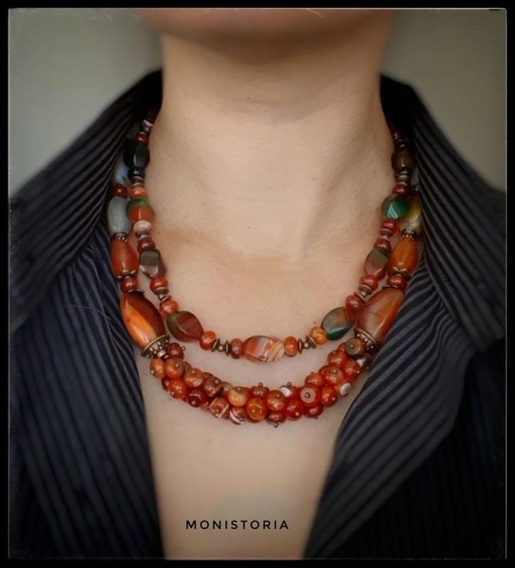 Ожерелье из сердолика и агата Красный сердолик, агат Куличенко Ирина - фото 1