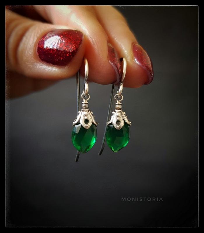 Серебряные серьги с зеленым кварцем  Серебро, кварц. Куличенко Ирина - фото 3