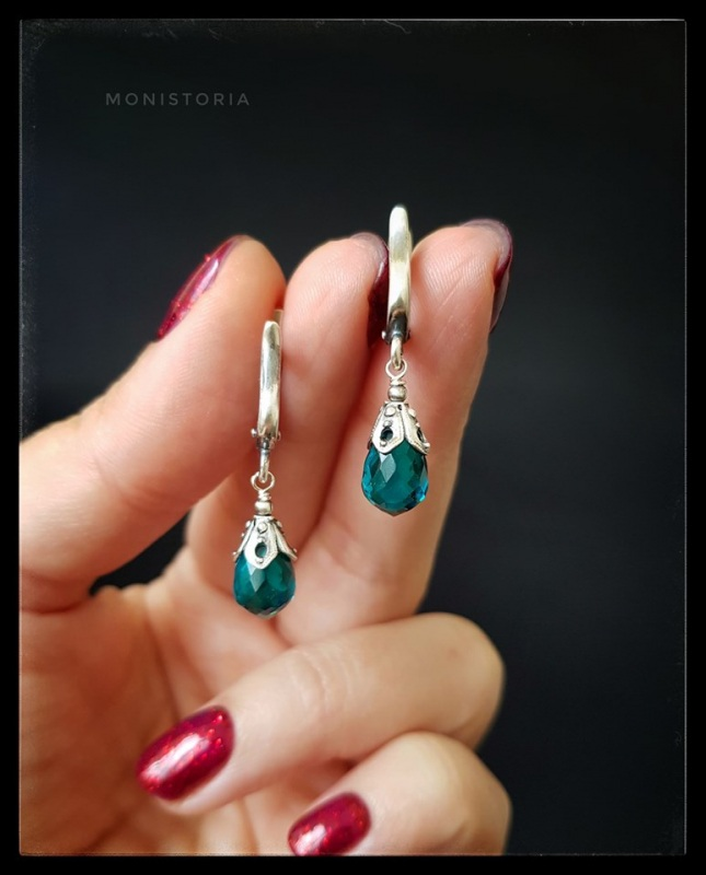 Серебряные серьги с бриолетами кварца Зеленый Кварц, серебро. Куличенко Ирина - фото 1