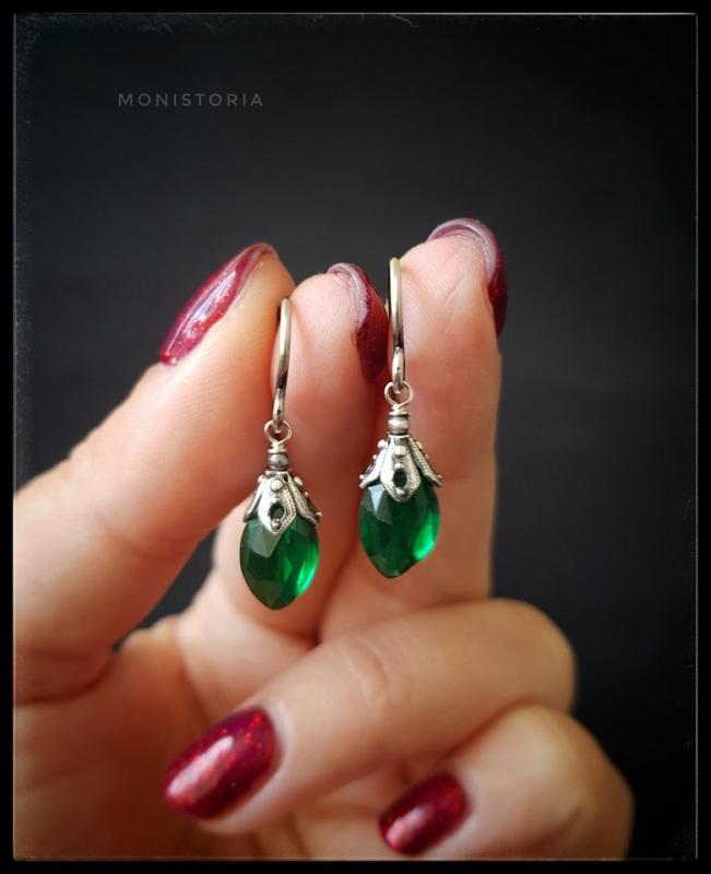 Серебряные серьги с зеленым кварцем  Серебро, кварц. Куличенко Ирина - фото 1