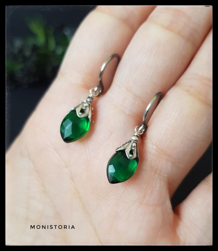 Серебряные серьги с зеленым кварцем  Серебро, кварц. Куличенко Ирина - фото 2