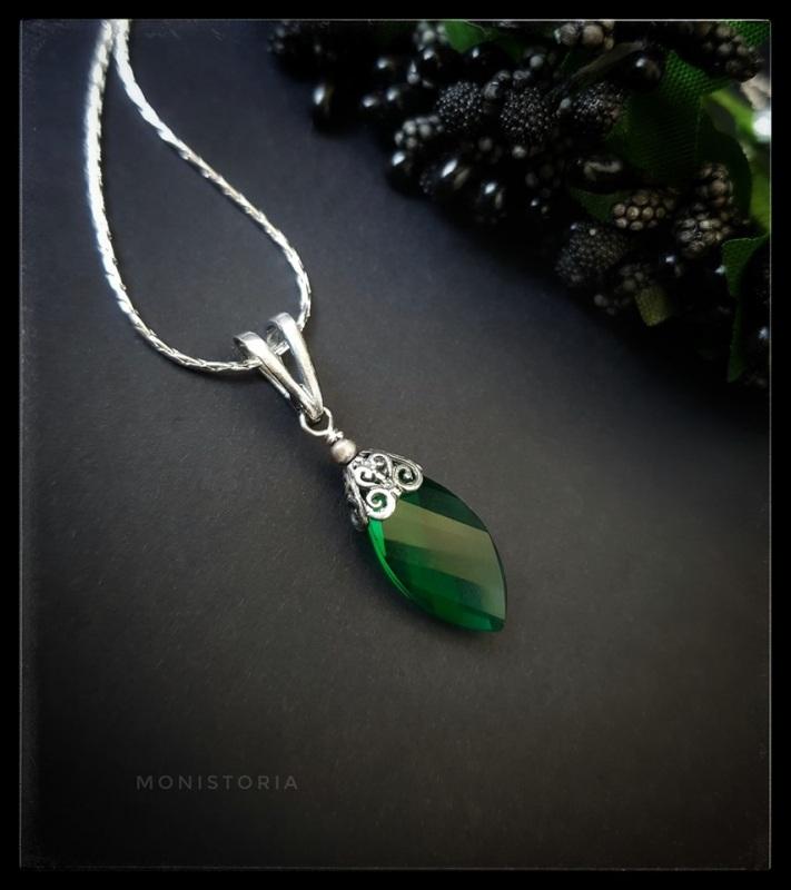 Кулон с зеленым кварцем (без цепочки) Зеленый Серебро, кварц. Куличенко Ирина - фото 1