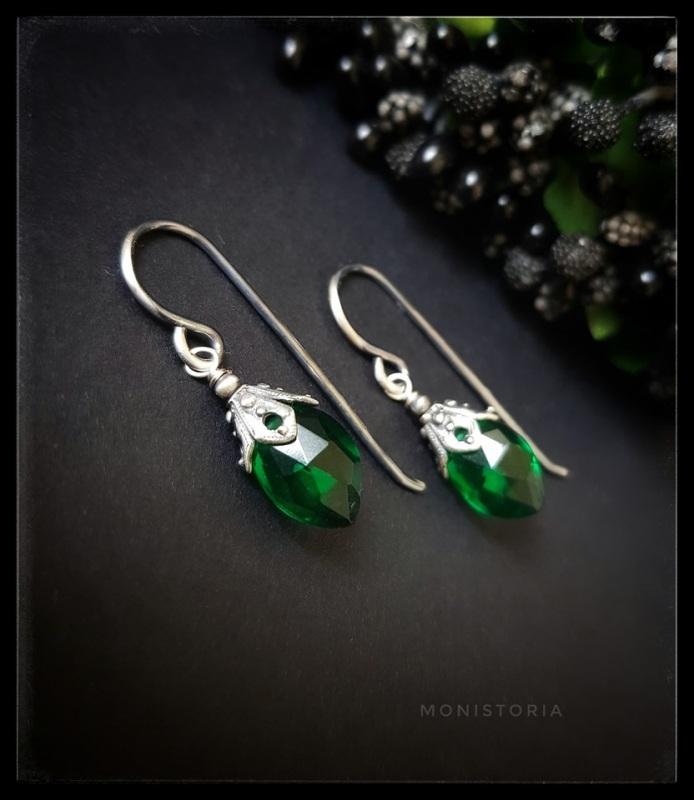 Серебряные серьги с зеленым кварцем  Серебро, кварц. Куличенко Ирина - фото 4
