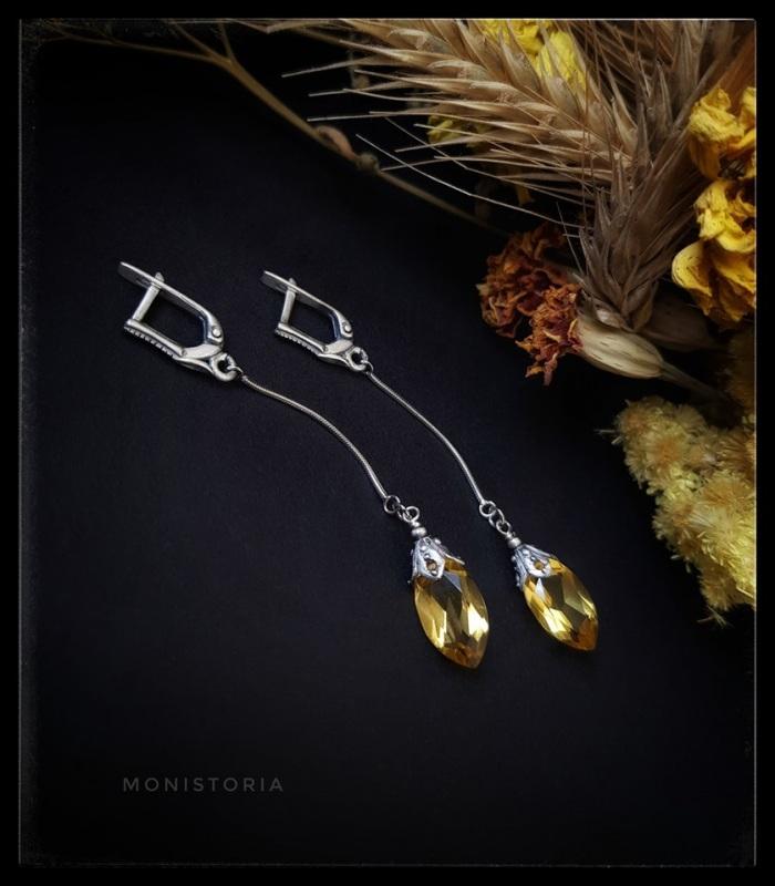 Серьги с лимонным кварцем  Серебро, кварц, родиевая Куличенко Ирина - фото 3